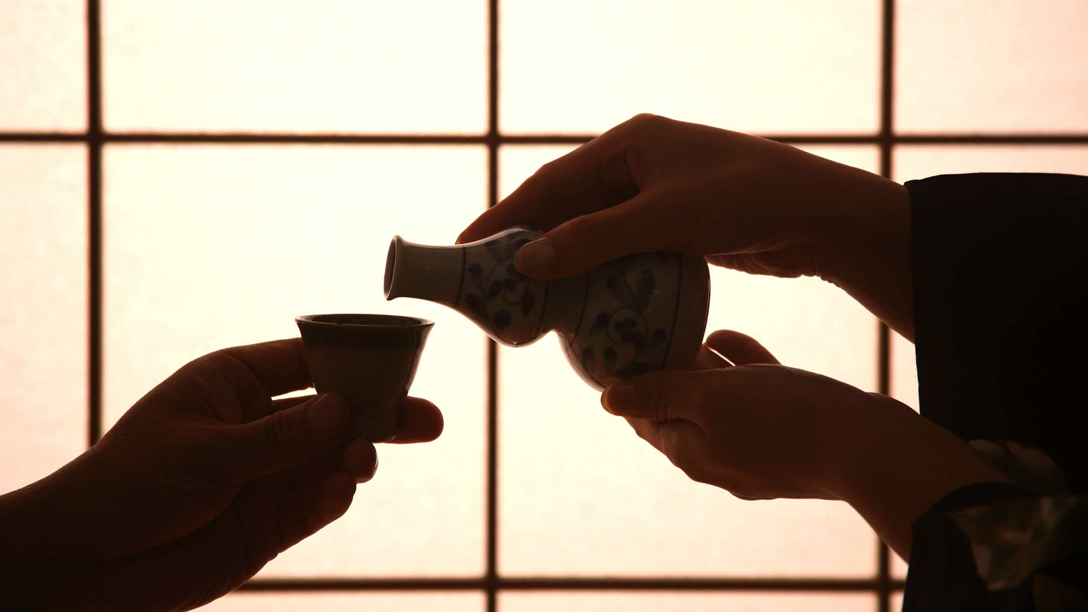 Silhouette of Hands holding a Sake Cup and Bottle